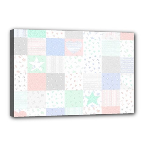 Sweet Dreams Rag Quilt Canvas 18  X 12  by Mariart