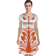 Tree Leaf Flower Orange Sexy Star Cap Sleeve Nightdress