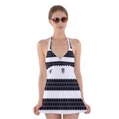 Wasp Bee Hive Black Animals Halter Swimsuit Dress