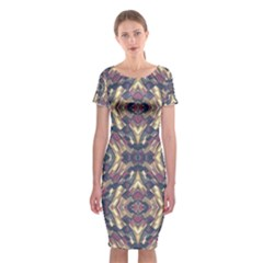Multicolored Modern Geometric Pattern Classic Short Sleeve Midi Dress by dflcprintsclothing
