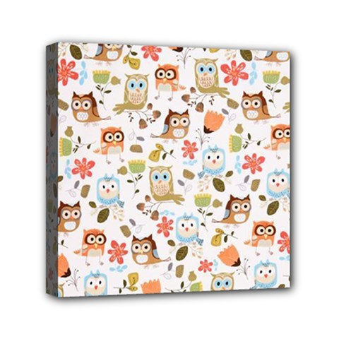 Cute Owl Mini Canvas 6  X 6  by Nexatart