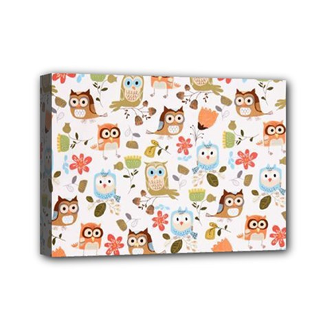 Cute Owl Mini Canvas 7  X 5  by Nexatart