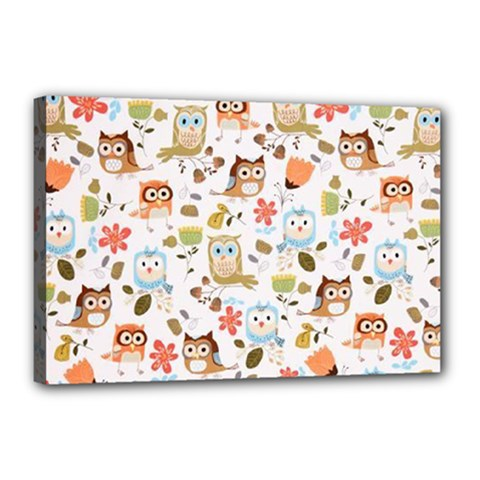 Cute Owl Canvas 18  X 12  by Nexatart