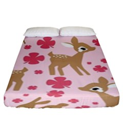 Preety Deer Cute Fitted Sheet (king Size) by Nexatart