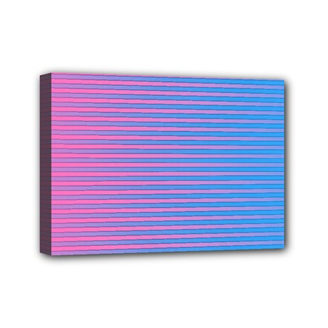 Turquoise Pink Stripe Light Blue Mini Canvas 7  X 5  by Mariart