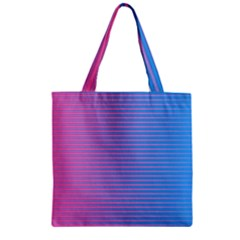 Turquoise Pink Stripe Light Blue Zipper Grocery Tote Bag by Mariart