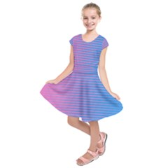 Turquoise Pink Stripe Light Blue Kids  Short Sleeve Dress by Mariart