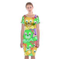 Cute Cartoon Crowd Of Colourful Kids Bears Classic Short Sleeve Midi Dress by Nexatart