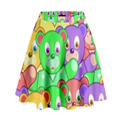 Cute Cartoon Crowd Of Colourful Kids Bears High Waist Skirt by Nexatart