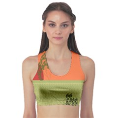 Sunset Orange Green Tree Sun Red Polka Sports Bra by Mariart
