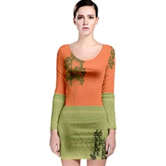Sunset Orange Green Tree Sun Red Polka Long Sleeve Bodycon Dress by Mariart
