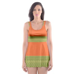 Sunset Orange Green Tree Sun Red Polka Skater Dress Swimsuit by Mariart