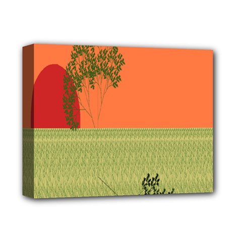Sunset Orange Green Tree Sun Red Polka Deluxe Canvas 14  X 11  by Mariart