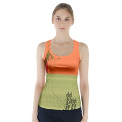 Sunset Orange Green Tree Sun Red Polka Racer Back Sports Top