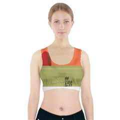 Sunset Orange Green Tree Sun Red Polka Sports Bra With Pocket by Mariart