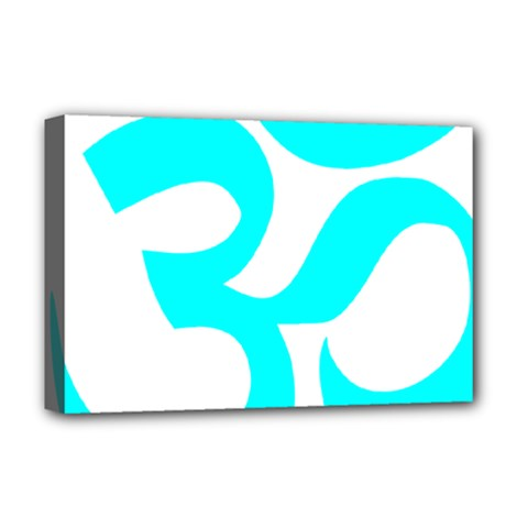 Hindu Om Symbol (cyan) Deluxe Canvas 18  X 12   by abbeyz71