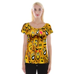 Smileys Linus Face Mask Cute Yellow Women s Cap Sleeve Top