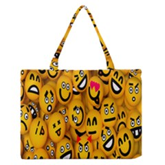 Smileys Linus Face Mask Cute Yellow Medium Zipper Tote Bag by Mariart