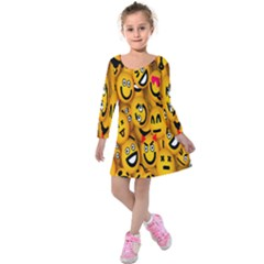 Smileys Linus Face Mask Cute Yellow Kids  Long Sleeve Velvet Dress by Mariart