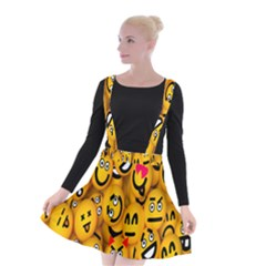 Smileys Linus Face Mask Cute Yellow Suspender Skater Skirt