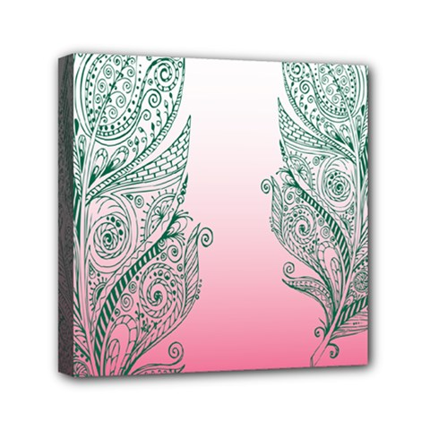 Toggle The Widget Bar Leaf Green Pink Mini Canvas 6  X 6  by Mariart