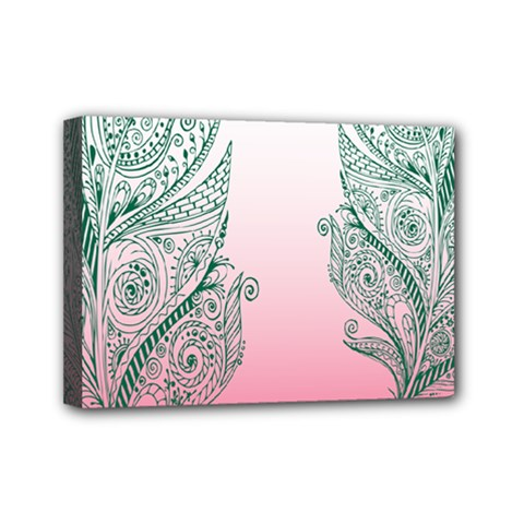 Toggle The Widget Bar Leaf Green Pink Mini Canvas 7  X 5  by Mariart