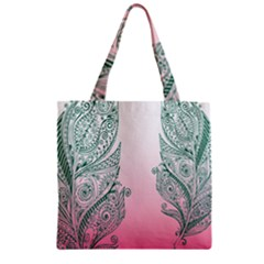 Toggle The Widget Bar Leaf Green Pink Zipper Grocery Tote Bag by Mariart