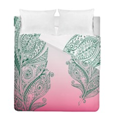 Toggle The Widget Bar Leaf Green Pink Duvet Cover Double Side (full/ Double Size)