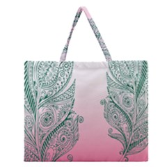 Toggle The Widget Bar Leaf Green Pink Zipper Large Tote Bag by Mariart