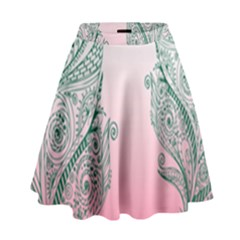 Toggle The Widget Bar Leaf Green Pink High Waist Skirt by Mariart