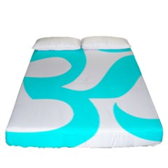 Aum Om Cyan Fitted Sheet (queen Size) by abbeyz71