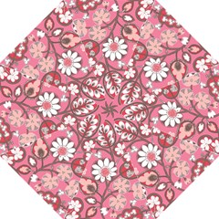 Pink Flower Pattern Hook Handle Umbrellas (medium) by Nexatart
