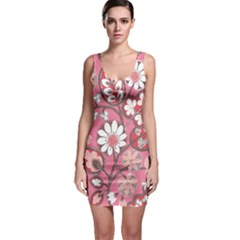 Pink Flower Pattern Sleeveless Bodycon Dress