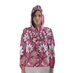 Pink Flower Pattern Hooded Wind Breaker (women)