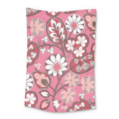 Pink Flower Pattern Small Tapestry by Nexatart
