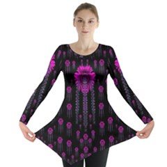 Wonderful Jungle Flowers In The Dark Long Sleeve Tunic  by pepitasart