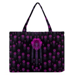 Wonderful Jungle Flowers In The Dark Medium Zipper Tote Bag