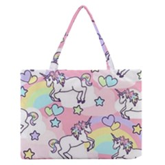 Unicorn Rainbow Medium Zipper Tote Bag