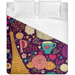 Cute Colorful Doodles Colorful Cute Doodle Paris Duvet Cover (california King Size)