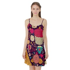 Cute Colorful Doodles Colorful Cute Doodle Paris Satin Night Slip by Nexatart