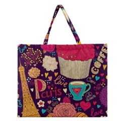 Cute Colorful Doodles Colorful Cute Doodle Paris Zipper Large Tote Bag by Nexatart