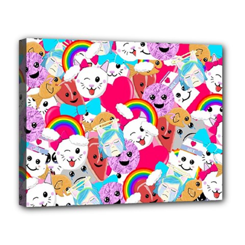 Cute Cartoon Pattern Canvas 14  X 11