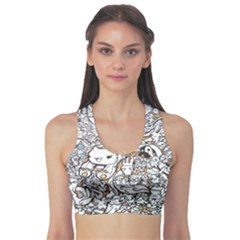 Cute Doodles Sports Bra