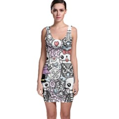 Kawaii Graffiti And Cute Doodles Sleeveless Bodycon Dress by Nexatart