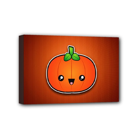 Simple Orange Pumpkin Cute Halloween Mini Canvas 6  X 4  by Nexatart