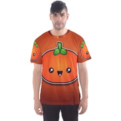 Simple Orange Pumpkin Cute Halloween Men s Sport Mesh Tee by Nexatart