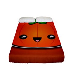 Simple Orange Pumpkin Cute Halloween Fitted Sheet (full/ Double Size) by Nexatart