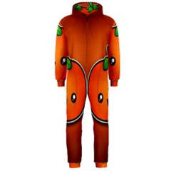 Simple Orange Pumpkin Cute Halloween Hooded Jumpsuit (men)