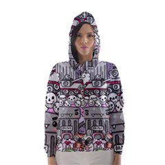 0 Sad War Kawaii Doodle Hooded Wind Breaker (women)
