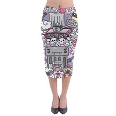 0 Sad War Kawaii Doodle Midi Pencil Skirt